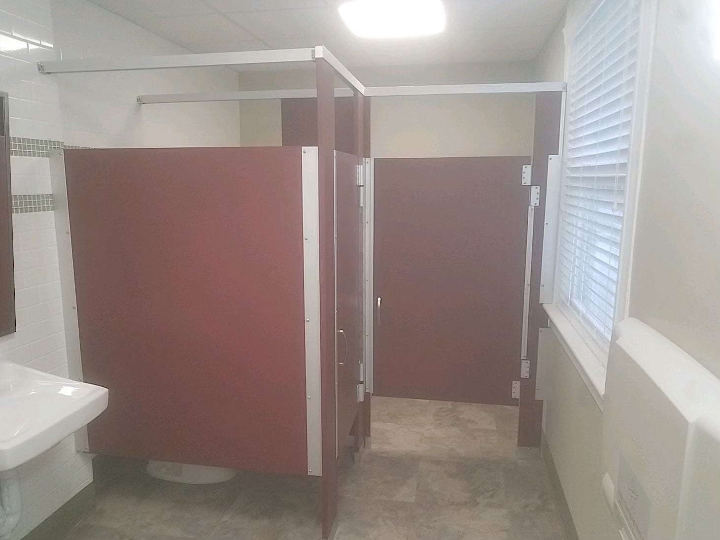Red Toilet Partitions - Burgundy