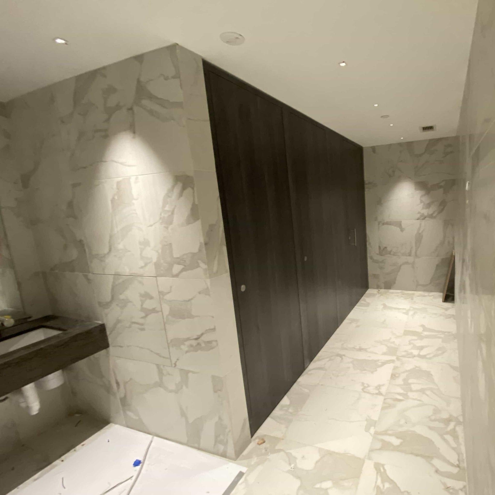 Thrislington Toilet partition install photos